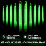"Cyalume Green Glow Sticks – 12 Hours of Premium Bright Light, 6"" SnapLight Light Sticks for a Variety of Uses (20 Pack)"