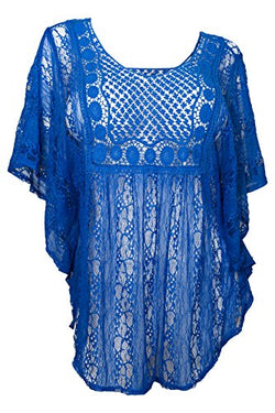 eVogues Plus Size Sheer Crochet Lace Poncho Top Royal Blue - 1X