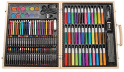 Darice 131-Piece Premium Art Set – Art Supplies for Drawing, Painting and More in a Wood Case - Makes a Great Gift for Children and Adults