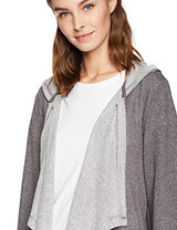 Mae Women's Drape Front Hooded Wrap,Charcoal with Fleck,Medium