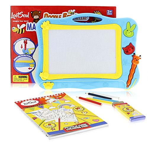 Magnetic Drawing Board for kids - Coloring Book for toddlers – Magnetic Doodle Board for Girls and Boys - This Magna Doodle pad helps your kid Write & Draw - Perfect Travel Toys by LootSoul