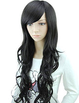 "MelodySusie Black Long Curly Wig - 34""Curly Wig with Inclined Bangs Synthetic Cosplay Daily Party Wig for Women Natural as Real Hair (Black)"