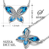 S SIVERY Mothers Day Gifts 'Butterfly' Women Pendant Necklace with Blue Swarovski Crystals, Jewelry for Mom Gifts for Mom