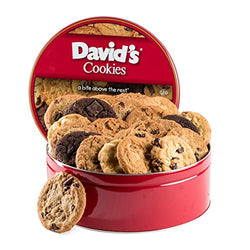 David's Cookies — Assorted Fresh-Baked Cookie Gift Tin — Contains 24 Fresh Cookies — OU-D Certified Kosher Product — Fresh Homemade Cookies — No Added Preservatives — All-Natural Cookies — 2 lb. Gift
