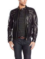Diesel Men's L-Neilor Leather Jackets,  Black, Medium