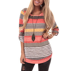 YOUCOO Women Casual Stripe Blouse Crewneck Long Sleeve Pullover Tunic Tops Shirts Large Orange