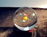 Aircee Mini Solar System 80mm (3.15 in.) Crystal Ball With A Stand (Solar System with Cuboid stand)