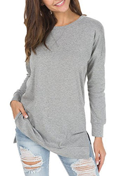 levaca Womens Round Neck Solid Side Split Loose Casual Plus Sweatshirt Gray S