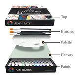 Acrylic Paint Set - 24 Color Art Kit Comes Complete With Paint Tubes, Brushes, Canvas, and Palette - Acrylics are for Beginners, Students and Professionals - Great Mothers Day Gift