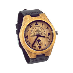 Viable Harvest Men's Wood Watch, Unique Sundial Design, Natural Bamboo, Genuine Leather and Gift Box (Black)