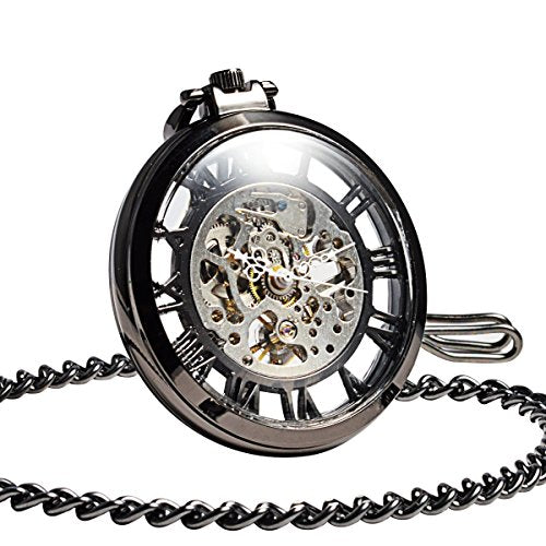 29349f3bf ManChDa Steampunk Mechanical Black Skeleton Big Size Hand Winding Pocket  Watch Open Face Fob for Men