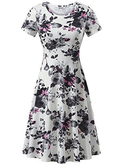HUHOT Fall Dresses Short Sleeve Round Neck Casual Flared Midi Dress Modest (Large, Print18)