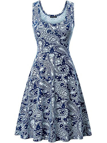 FENSACE Womens Floral Sleeveless Simple Dresses For Women, 18016-3, X-Large