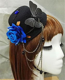 Steampunk Vintage Lolita Roses butterflies Chain Mini Top Hat Handmade Gothic Hats for Girls Party Halloween Hair Accessories (Blue)
