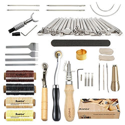 Leather Working Tools SIMPZIA 34 Pcs Leather Hand Tools Including 20 Pcs Different Leather Stamps,Adjustable Swivel Knife,Stitching Groover,Prong Punch,For DIY Leather Artwork.
