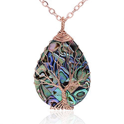 Tear Drop Abalone Tree of Life Necklace - Wire Wrap Abalone Shell Tree Of Life Healing Crystal Pendant Necklace Fashion Gold Plated Necklace Jewelry for Women