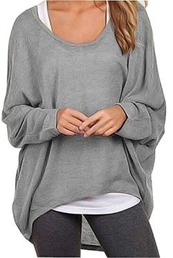 UGET Women's Casual Oversized Baggy Off-Shoulder Shirts Pullover Tops Asia XL Gray