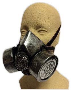 Silver Steampunk Gas Mask Adult Biohazard Respirator Cosplay Costume Accessory