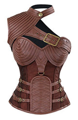 Charmian Women's Steampunk Gothic Heavy Strong Steel Boned Corset with Zipper Brown Large
