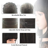"eNilecor Straight Short Bob Wigs 14"" with Flat Bangs Cosplay Hair Wig for Women Natural As Real Hair"
