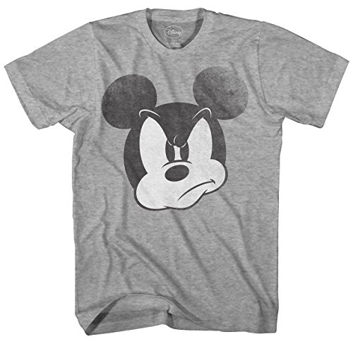 Disney Mad Mickey Mouse Adult Mens T-shirt (Small, Heather Grey)