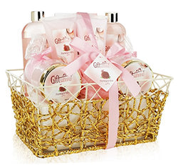 Spa Gift Basket - Refreshing Pomegranate Fragrance in Gold Gift Basket, Includes Shower Gel, Bubble Bath, Bath Bombs, Lotion and More! Great Wedding, Birthday, or Anniversary Gift Set for Women