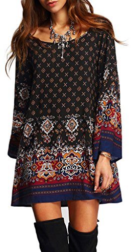 Risesun Women's Bohemian Vintage Printed Ethnic Style Loose Casual Tunic Dress(3XL)
