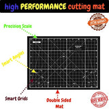 "Professional Double Sided Self Healing Fabric Cutting Mat For Quilting, Sewing & DIY Crafts – Premium Design With Grids & Angle Indications For Optimal Accuracy & Convenience – 11"" x 8"" – Black"
