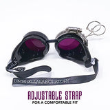 umbrellalaboratory Steampunk Victorian Style Goggles with Gear Design and Purple Lenses, by