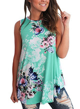 Dokotoo Womens Casual Summer Floral Sleeveless Tops and Blouse For Juniors Tank Green Large