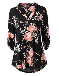 Zattcas Womens Floral Printed Tunic Shirts 3/4 Roll Sleeve Notch Neck Tunic Top (XX-Large, Black)