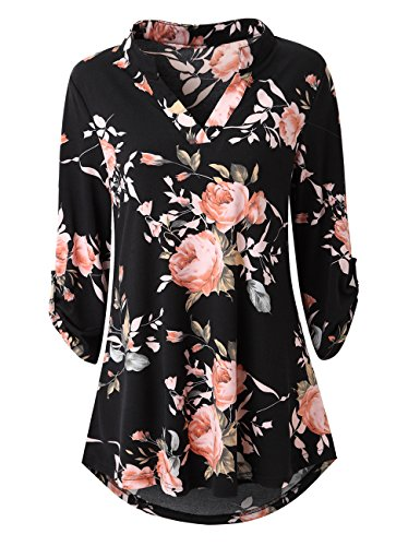 33eb6295f12 Zattcas Womens Floral Printed Tunic Shirts 3 4 Roll Sleeve Notch Neck Tunic  Top (
