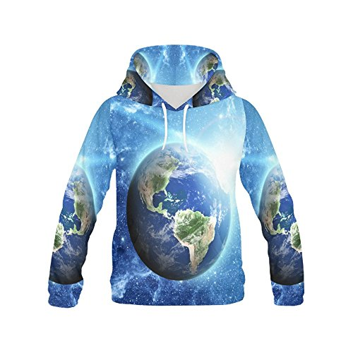 Galaxy Nebula Earth and Stars in Outer Space Unive Women's 3D Printed Pullover Hooded Sweatshirt