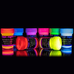 neon nights UV Black Light Fluorescent Glow Fabric & Textile Paint Ultraviolet - Set of 8