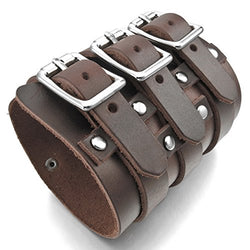 INBLUE Men's Alloy Genuine Leather Bracelet Bangle Cuff Silver Tone Brown Black Adjustable