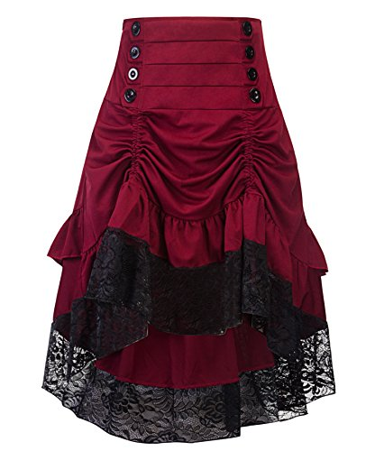 crazycatz Women's Vintage Steampunk Victorian Goth Lace Party Skirt Front Button Low High Skirt (Red Wine, M US 8)