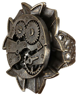 Antique Style Adjustable Steampunk Watch Gears Ring