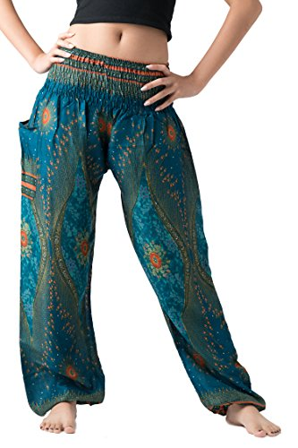 Bangkokpants Women's Boho Pants Hippie Clothes Yoga Outfits Peacock Design One Size Fits (Green)