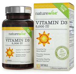 NatureWise Vitamin D3 5,000 IU for Healthy Muscle Function, Bone Health and Immune Support, Non-GMO in Cold-Pressed Organic Olive Oil, Gluten-Free, 3-month supply, 90 count, packaging may vary