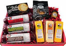 Ultimate Gift Basket with Features Smoked Summer Sausages, 100% Wisconsin Cheese, Crackers, Pretzels and Mustard