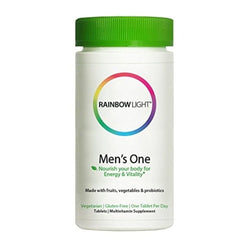 Rainbow Light - Men's One Multivitamin - Probiotic, Enzyme, and Vitamin Blend; Supports Energy, Stress Management, Heart, Prostate, Muscle, and Sexual Health in Men; Gluten Free - 150 Tablets