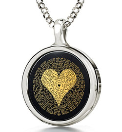 925 Sterling Silver I Love You Necklace Inscribed in 120 Languages in 24k Gold on Round Onyx Pendant, 18