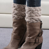 FAYBOX Short Women Crochet Boot Cuffs Winter Cable Knit Leg Warmers Khaki