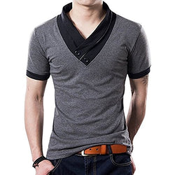 Yong Horse Mens Summer Fashion V Neck Contrast Color Slim Fit Short Sleeve Cotton T-Shirt (Grey-L)