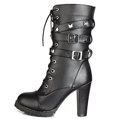 5db392d97bfeb Susanny Women s Mid Calf Leather Boots Chic High Heel Lace Up Military  Buckle Motorcycle Cowboy Black ...