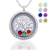 Family Tree of Life Birthstone Necklace Jewelry - Gifts for Mom Floating Charm Living Memory Lockets Pendant, Mother's day gifts, Birthday Gifts, Christmas day gifts, Anniversary Thanksgiving gifts