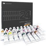 Acrylic Paint Set 24 Non Toxic Professional Heavy Body Colors for Canvas Wood Fabric Rocks Ceramic or Crafts art Great Gift for Artists Students or Kids