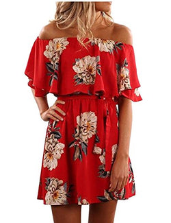Yobecho Women Summer Off Shoulder Strapless Floral Print Pleated Dresses (M, Red)