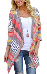 Myobe Women's Fashion Geometric Print Drape Front Cable Knit Cardigan, Red, Medium