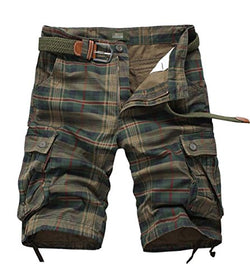 Tanming Men's Summer Loose Fit Multi Pockets Plaid Cargo Shorts Walk Shorts (X-Large, Green)